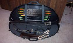 one owner pse nova camo compound bow. comes with case quiver release and arrows, some with field tips and some with broadheads. also included is a large target bag for use with field tips. call 1-317-797-2997 before 7 pm