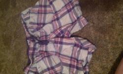 Purple lounge plaid shorts size L