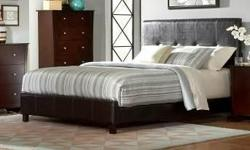 Queen Espresso modern leather fabric bed without mattress $225.00. (Bed is left over from interior design job) (((( Free door to door Delivery )))). Bed head board is 48 inches tall, padded side rails and foot board is 10 1/2 inches tall. Bed