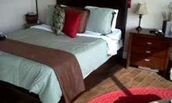 I have a beautiful queen modern leather dark brown bed with white semi firm mattress set ($325.00) and a dresser and night stand ($350) total for everything $675.00. If you need mirror I can order for $75.00 used in a staged condo for show. Mattress was