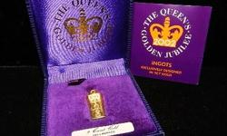 This is an official commemorative limited edition 9ct gold ingot bar. It was issued in celebration of Queen Elizabeth's Golden Jubilee Anniversary Celebration in 2002. You cannot find these anywhere. This ingot has always been stored in