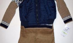 """QUILTED VEST - SWEATER - PANTS SET (3 PC)""""Baby Togs"""". Navy nylon quilted vest, with a beige and navy fairisle sweater, and tan corduroy pants. It doesn't get any better than this! Sizes 2t and 4t. To purchase visit:"""