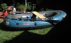 Raft + Carpeted Floorboard + 2 sets of oars + rowing and rear pinewood seats + fishing rod holders + 5 lb. fishing anchor and ropes. 32-gauge PVC rugged construction. Multiple air chambers with Airtight System guaranteed not to leak. Long tunnel chambers