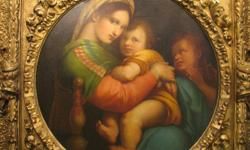 Join the Auction Kings for a fantastic auction Sunday, September 18th from 11:00am -- 7:00pm. (Come early for prime parking!) REPRODUCTION OF RAPHAEL?S ?MADONNA DELLA SEGGIOLA? GILDED FRAME -Highly ornate hand carved gilded frame. -Features Raphael?s