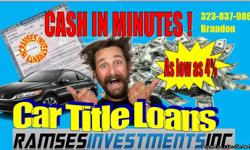 Fast & Simple process Find out now how much your car qualifies for! Call now 323-837-9864 (no obligations) Keep in mind that getting an auto title loan with us is fast and simple. You can't get any better deals than this? Prove me wrong and I will give