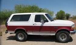 1995 FORD BRONCO Mechanically excellent. 35k on motor, transmission and A/C replaced in '06.. Body is very straight, small dent in rear quarter panel. Needs minor cosmetics. Cruise control works, interior is original and intact. Deep tread on Bridgestone