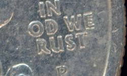 Found in a collection I acquired is this rarity quarter from the State Quarter collection. There are a few that were 'In God We Rust' but this one is even more rare as not only is the T missing but also the G above it. Note that the letters are barely