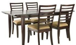 Raymour and Flanigan Broadway Dining Room Set (Complete) This set was purchased in early 2009 and was used only 3 times. Since, the furniture has been secured in storage for the past year. It is in ALMOST NEW condition. Not a scratch! This set is still