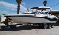 Really clean 23ft Celebrity Status 230 open bow with brand new interior as of August2014. Runs like new. Meticulously maintained mercruiser 454 and Bravo One outdrive always used synthetic lubricant. I have always kept up with the maintainance and have