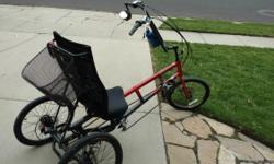 This trike is like new. Recently tuned up. Owned byan AMBITIOUS DIABLED person with high hopes,! therfore barely used! Schram 16 speed, basket, rear view mirror,reflector,breathable backseat that is adjustable and a bottle