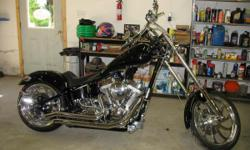 2005 red horse mustang chopper 250 motorcycle soft tail 100ci rev tec 5 speed billet wheels black/chrome only 8500 miles