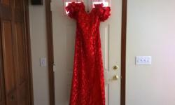 Red lace with sequin and satin ribbon evening formal prom gown by Dave & Johnny. Satin pouf sleeves can be worn on or off the shoulder, high mid thigh side slit, figure flattering. From David's Bridal, marked Large-13/14, runs11/12,