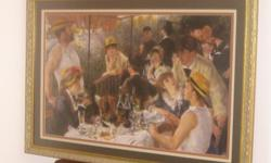 This is a framed printof Pierre Auguste Renoir ,1881, called THE LUNCHEON OF THE BOATING PARTY . THe measurement in the frame is 38 wide and 27 tall. It is not faded, I could not get a great picture of this with the