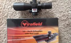 Firefield 2.5-10x40 riflescope. Built in mount on the base of the scope makes it very solid. it has a red laser mounted to the side of the scope the reticle is illuminated in eitherred or green multi-coated optics This scopehas only been
