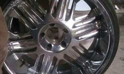 Four 22 inch rims for sell five lug in great condition, comes with the adapter