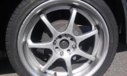 """""""THUNDER 07 DELINTE TIRES"""" 225/40 ZR18...... 4 RIMS WITH TIRES...... TIRES BARELY USED ON HONDA ACCORD, I WANT TO DO CASH TRADE IN YOUR OLDS TIRES. FOR MORE INFORMATION, TEXT ME OR CALL ME , ASK FOR CHRIS."""