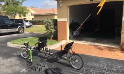 Rover TerraTrike Recumbent Tandem Bike (8 gears with independent pedaling system). Includes air pump, flag, and foam mounting blocks & straps for transportation on top of car. Paid $2858 asking $1500.