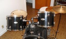 Sale - 7 Piece Drum Set (w/Bass drum pedal) Brand Name: Fender - Starcaster Set Includes: Bass Drum / Bass Drum Pedal - low resistance, very flexible / Florr Drum / Snare Drum / 2 Tim-Toms - drum skins on tim Toms slightly worn. / High Hat / Crash