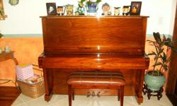 Beautiful light cherry,high gloss finish on this immaculate piano with matching bench. Must see to appreciate the sound and appearance of this fine instrument.