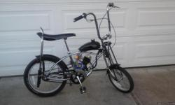 TRULY A DREAM MACHINE!  Brand new 50 year anniversary addition Schwinn Sring Ray. #494 of 500 made. (FRITZ FIFTY) With 48cc Two stroke star fire Grubeeengine. Up to 35 MPH. 150 miles per gallon. Street legal. Call after 3:00