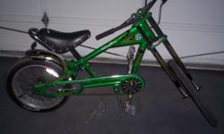Schwinn String Ray Orange County Chopper 20 '',adjustable black leather seat with embossed lego & small sissy bar,chopper pedals, wishbone kick stand,V shaped handle bars,chrome fork with wide back tire some minor scratches like any used bike would have