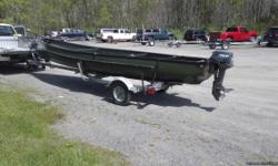 21 ft length , 8 horsepower motor, trailer, oars and fish finder included. Other extras.
