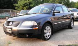 This 2003 VW Passet GLX is Beautiful...MUST SEE!!!!!! No Marks, No Dents, Nothing.. It was very well taken care of. THE OUTSIDE IS A DARK GRAYISH BLUE WITH A GRAY LEATHER INTERIOR. COMFORTABLE BUCKET SEATS THAT ARE HEATED. EVERY FEATURE YOU NEED AS FAR AS