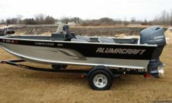 2014 Alumacraft Competitor 165 cs w/ 90hp Yamaha, and Shorelander roller trailer with swing tongue. Also has Jensen stereo, V2 Powerdrive, Lowrance Elite 7HD with Lakemaster chip and 4 captains chairs. 12 rod storage capacity. Stern livewell/ baitwell.