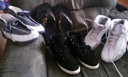 White jordans size 6 gray and white jordans size 6 skechers flip flops size 9 and a pair of black shoes size ,8