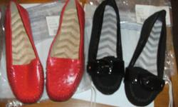 Two pairs Size 7 Shoes from Avon org 24.99ea Sell BOTH FOR $25 New never used 1 Genuine Leather upper Ostrich Embossed cushion walk Red loafer 1 Genuine Swede upper cushion walk/drive black Moccasin
