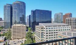 Bellevue Pacific Tower condo available. Luxury condo living with expansive views and many amenities including 24 hour concierge, exercise room, pool/hot tub and roof top garden. Newer floors, paint. Newer Kitchen with cabinets, granite countertops, and