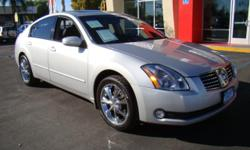 Maxima fans, here you go! Beautiful silver Maxima, v6 3.5L engine -- powerful yet economical! Plenty of room for 5 full-sized adults with all the features you want and love: power windows, power locks, power mirrors, heated leather seats, cruise control,