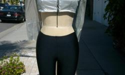 ONE OF A KIND BOLERO JACKET WITH CHANEL QUILTING AND ZIPPER FRONT PANTSARE HIP HUGGERS STRETCH FABRIC