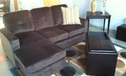 New chenille small sectional for $380.00 pick up. Sectional is 74 inches long and chase part is 48 inches long. Dark brown soft chenille cloth fabric. Door to door delivery with in reason of down town Atlanta for free. Set look just like the set in the