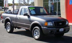 I've got the perfect work truck that is also affordable! 2005 charcoal Ford Ranger Edge regular cab! 5-speed manual, power steering, CD, AM/FM, cassette, air conditioning, steel wheels, v6 engine, PERFECT for any job that has to be done! Doubles as a fun
