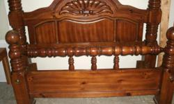 solid wood queen size bed frame in good codition for sale