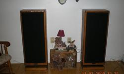 "Sony speakers excellent condition. Oak finish 39 1/2 "" high X 10"" deep X 15 1/4 wide."