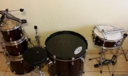Best offer can take this 5 peice drum kit wih all hardware away.  Color grape purple. All heads are in good condition playable condition. They willl not need replacement for sometime. You will have to buy symbols for the hh and ride.