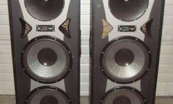 """(2) Pro Studio Mach II speaker cabinets Each cabinet contains two 15"""" subwoofers and one tweeter Model 40E5491 KDOR Seized Hays, Ks. 67601"""