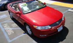 Spring is just around the corner and now is the perfect time to get your red rocket: this stunning, polished 2002 Toyota Solara convertible! Tan leather interior, beige soft top, power windows and locks, cd, air, heat, everything you need to enjoy San