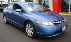 Arguably one of the most popular cars in America, the Honda Civic leads the pack with amazing gas mileage and unparalleled reliability and manufacturing! This blue wonder features a very large dash and speedometer display, gas-saving 4 cylinder engine,