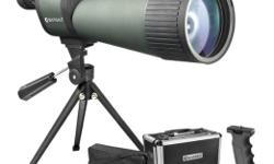 New! In the original unopened box. Barska Benchmark is Listed for over $300.00 this straight spotting scope with 25x to 125x magnification and 88mm objective lens Dynamic lens focusing system makes it easy to zoom in on target. Fully coated optics;