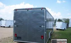 Stock#:custom order Serial#:order Description ::: extra options included are: 1.) Heavy duty rear ramp door w/ ramp flap and spring assist 2.) 4 ft. Beavertail on rear end 3.) Color is charcoal grey 4.) 6 & 1/2 ft. Interior height 5.) Side door step 6.) 2