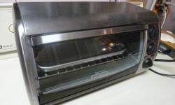 This is a Black and Decker toaster oven , brand new just used one time. My wife decided to buy a stove so we have this toaster oven which we don't have to use. It comes with an instruction manual. A great buy at half he price you would pay at