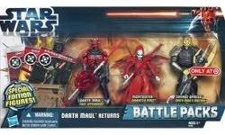 STAR WARS 2012 BATTLE PACKS DARTH MAUL RETURNS WITH DARTH MAUL FIRST APPEARANCE, NIGHTSISTER CHARACTER DEBUT, AND SAVAGE OPRESS DARTH MAUL'S BROTHER. Figures are MINT in MINT to near MINT package.