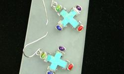 Georgeous Bright Aqua Turquoise cross earrings with oval cabachon cut red coral, lavendar purple amethyst, lime green peridot and deep blue lapis accents. Total Carat weight, approximately 4cts. Very light to wear and comfortable.