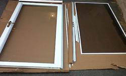 """Full Glass front storm door with screen (LARSON)for standard 36""""x 80"""" nominal size opening. Comes with closers, all mounting hardware and installation manual. Set up for right hand opening (left hand hinge). Good condition, approximately 5"""