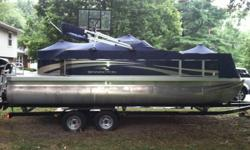 Beautiful Blue, 20 ft, 2011 Bennington Pontoon Boat with 50 HP Mercury motor. 2011 Phoenix Tandem Boat Trailer included. Boat has limited mileage and limited use to date.  A must see. Insurance is very inexpensive on this yearly, and the plates