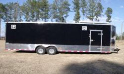"""Stock#:custom order Serial#:order Description :::: 8.5x28 track ready enclosed trailer 100% all tube frame extra options included are: 7000 lb axles 18 inches extra height extra wide ramp door upgraded ramp handles color 24"""" anodized sides and rear walk"""