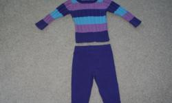 Outfit is from the Children's Place, size 18 months. My daughter looked so grown up in this sweater and leggings set. Washed, in great condition and comes from a smoke free family.
